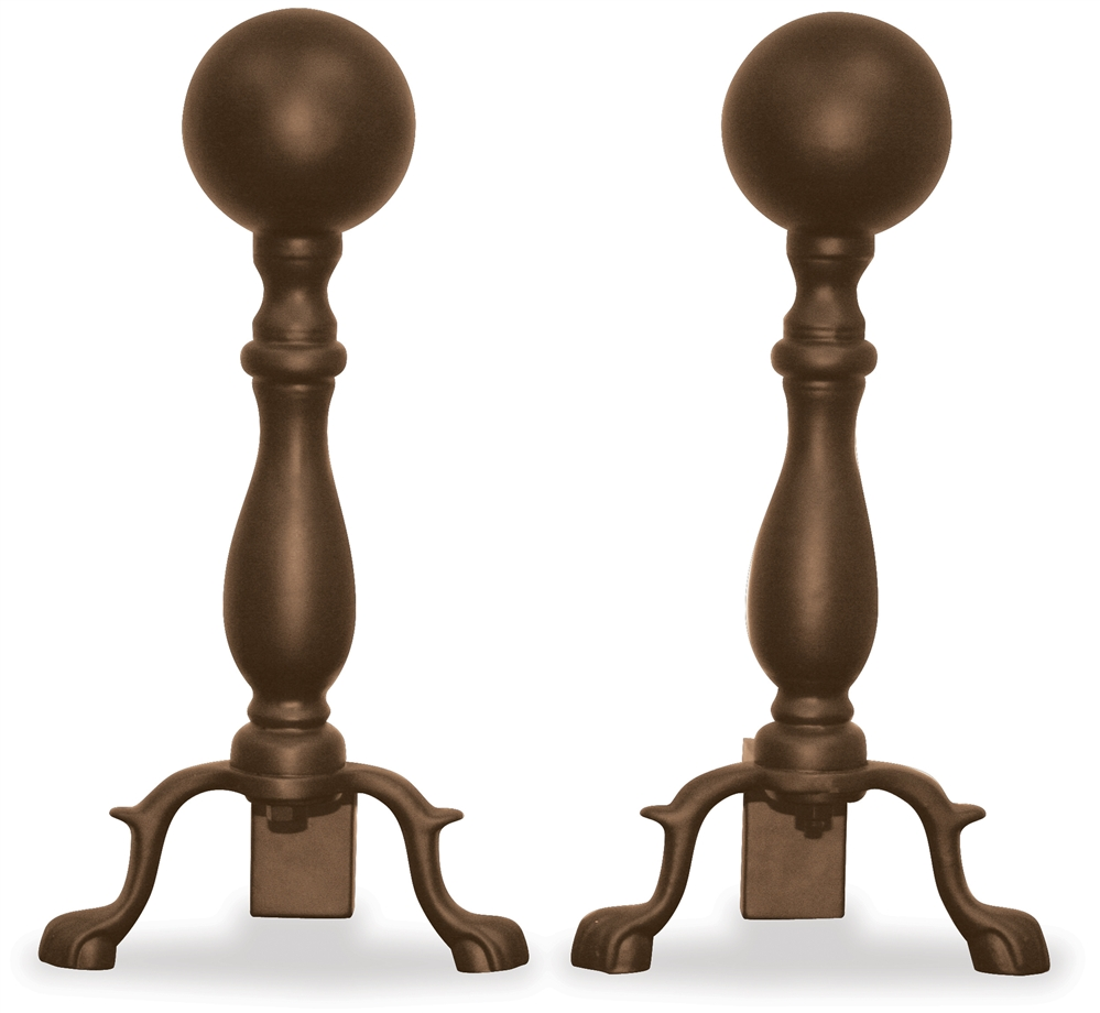 Uniflame Bronze Andirons with Ball Handle