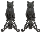 Uniflame Black Wrought Iron Cat Andirons with Reflective Glass Eyes