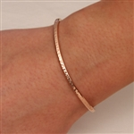 14k Rose Gold Filled Thin Hammered Cuff Bracelet (350cur.rgf)