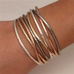 Sterling Silver, Niobium, 14K Rose and Yellow Gold Filled Thin Hammered Cuff Bracelets (350cur.ygf.rgf.s.n.350str.ygf.rgf.s.n.8)