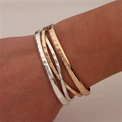 14K Yellow Gold Filled and Silver Hammered Cuff Bracelets (351.352.s.ygf.4)