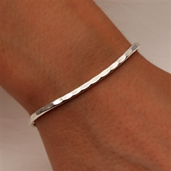 Sterling Silver Thin Hammered Cuff Bracelet (351.s)