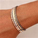 Sterling Silver, Niobium, 14K Rose and Yellow Gold Filled Thin Hammered Cuff Bracelets (351.ygf.rgf.s.n.4)
