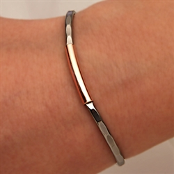 14k Rose Gold Filled and Niobium Thin Hammered Cuff Bracelet (351TH.rn)