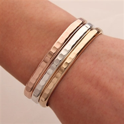 Sterling Silver, 14K Rose and Yellow Gold Filled Hammered Cuff Bracelets (352.rgf.s.ygf.3)