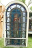 SG-441, St. Pius X -100 Year old Antique Church Stained Glass Window in wood frame