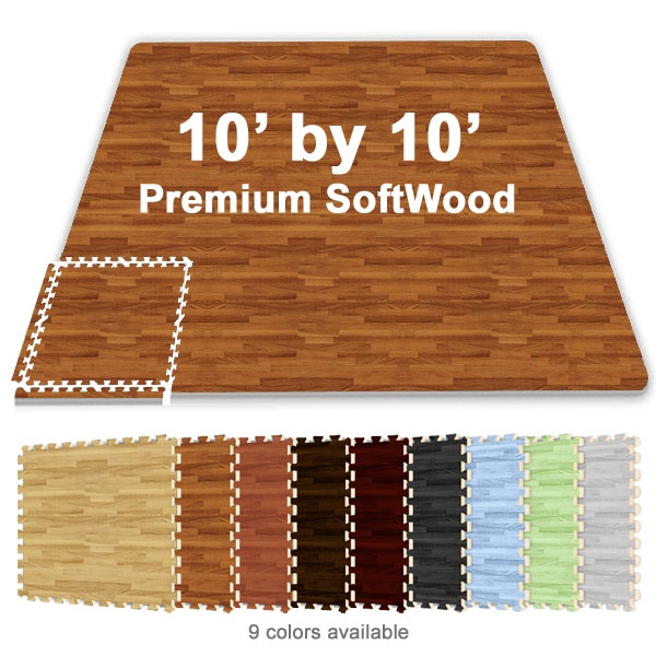10 Ft X 10 Ft Premium Interlocking Soft Wood Tile
