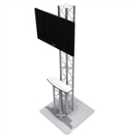 8FT TK8 TRUSS MONITOR STAND MEDIA KIOSK STATION WITH 24'' HALF ROUND SHELF