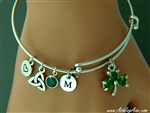 """My love of Ireland"" Shamrock Bangle/initials and birthstone"
