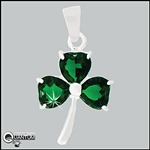 "Sterling Silver ""Wearing O' The Green"" CZ Shamrock Pendant (#BQ394)"