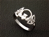 Sterling Silver Claddagh & Trinity Knot Ring (#BQ513)