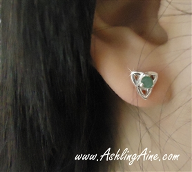 Genuine Emerald Trinity-Knot post Earrings