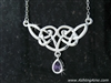 "Angel Wings Celtic Knot Necklace w/ Purple CZ  on 18"" Chain w/ 2"" Ext (#JPEW5502)"