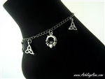 Claddagh and Trinity Celtic Charms Anklet with Magnetic Clasp (#JPEW5856)