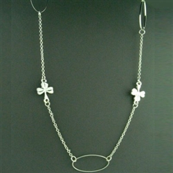 Pewter Long Shamrock Necklace (#JPEW6063)
