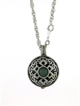 "Pewter Celtic Knot & Jade Stone Diffuser Pendant 24"" Chain (#PEW8010)"