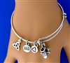 Irish Step Dance Hard Shoes Charm Bangle Bracelet (RPEW12)