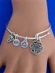 """Wings of an Angel"" Celtic Trinity Knot Charm Bangle Bracelet.( RPEW2)"