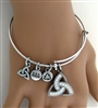 Bold and Elegant Trinity Charm  Bangle Bracelet (RPEW22)