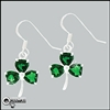 316 L Stainless Steel EmeralD Green Shamrock  Earrings (#S38)