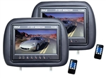 Pair Adjustable Black Headrest with Built-in 7'' TFT-LCD Monitors