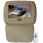 Pyle PL90HRTN Adjustable Tan Headrest/ Built-In 9'' TFT-LCD Monitor with IR