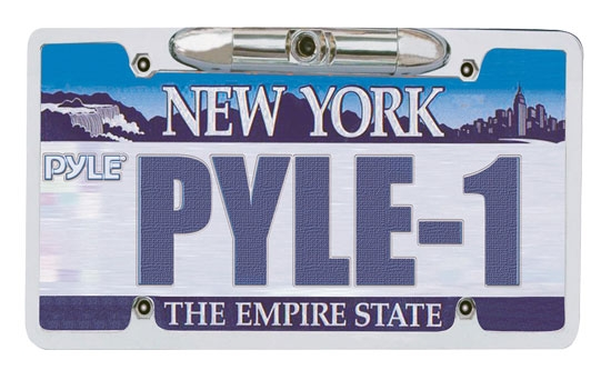 Pyle PLCM21 Low Lux Rear Camera Chrome Metal License Plate Frame