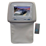 Pyle PLD72TN Tan Headrests w/ Built-In 7'' LCD Monitor w/ Built in DVD Player & IR/FM Transmitter With Cover
