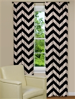 Large Modern Chevron Print Curtain Panel in Black and Brown