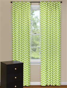 Modern Curtain Panels With Chevron Pattern in Green and White