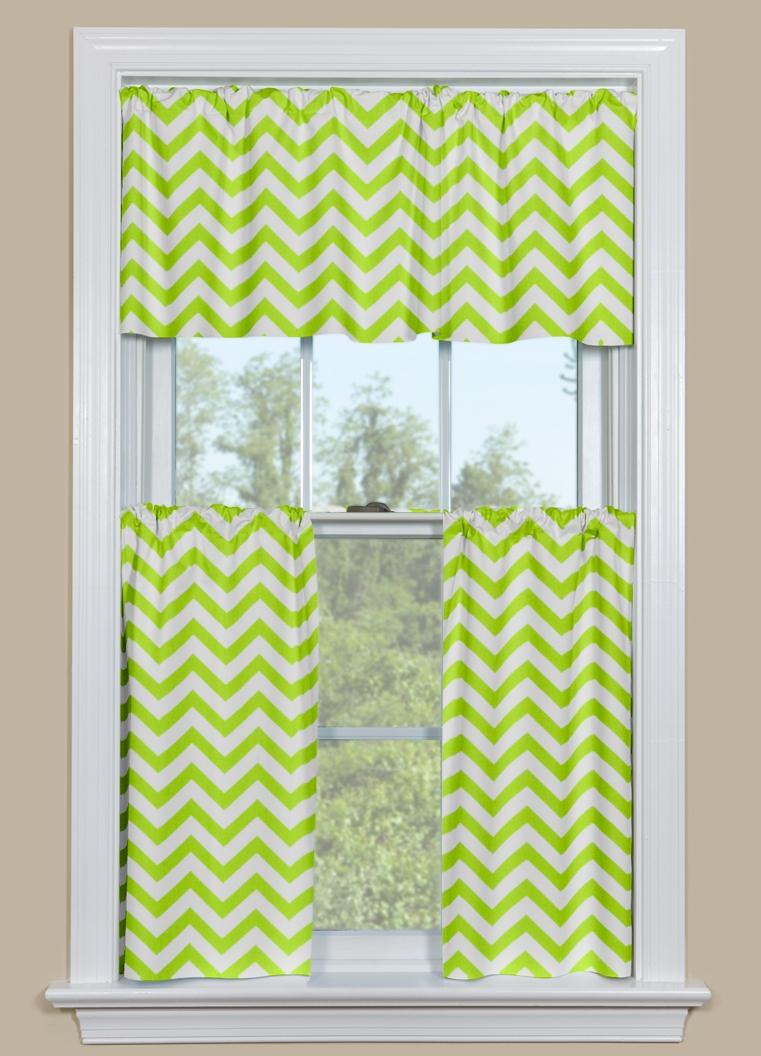 Modern Kitchen Or Bath Window Curtains Chevron Pattern