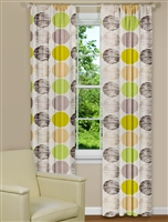 Modern Window Curtains With Green and Brown Spots