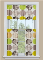 Kitchen Cafe Curtains and Valance with Large Dots in Green and Brown