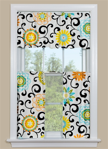 Modern Floral Kitchen Cafe Curtains and Valance with Bright Colors