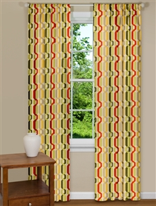 Retro Style Curtain Panel with Yellow, Red and Green Twist Design