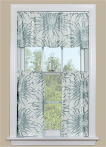 Grey Floral Kitchen Curtain Panel