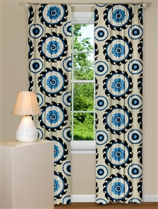 Modern Curtain Panels with Large Medallion Design in Blue
