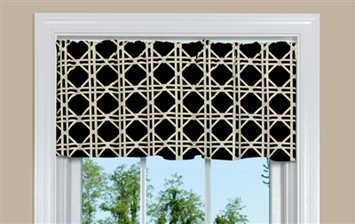 Discount Curtains: Cheap Brown Kitchen Valance with Lattice Design