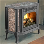 Hearthstone Sterling 8532 Soapstone Direct Vent Gas Stove (Shown In Black Matte w/ Brown Granite)