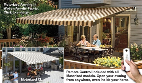 waterpro awning motorized sunsetter retractable sunbrella replacement awnings fabric