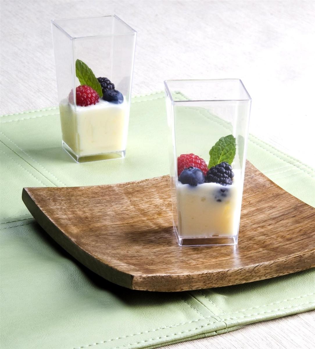 Alternative Views & Zappy Tall Square Mini Dessert Cups Plastic Tasting Shot Glasses