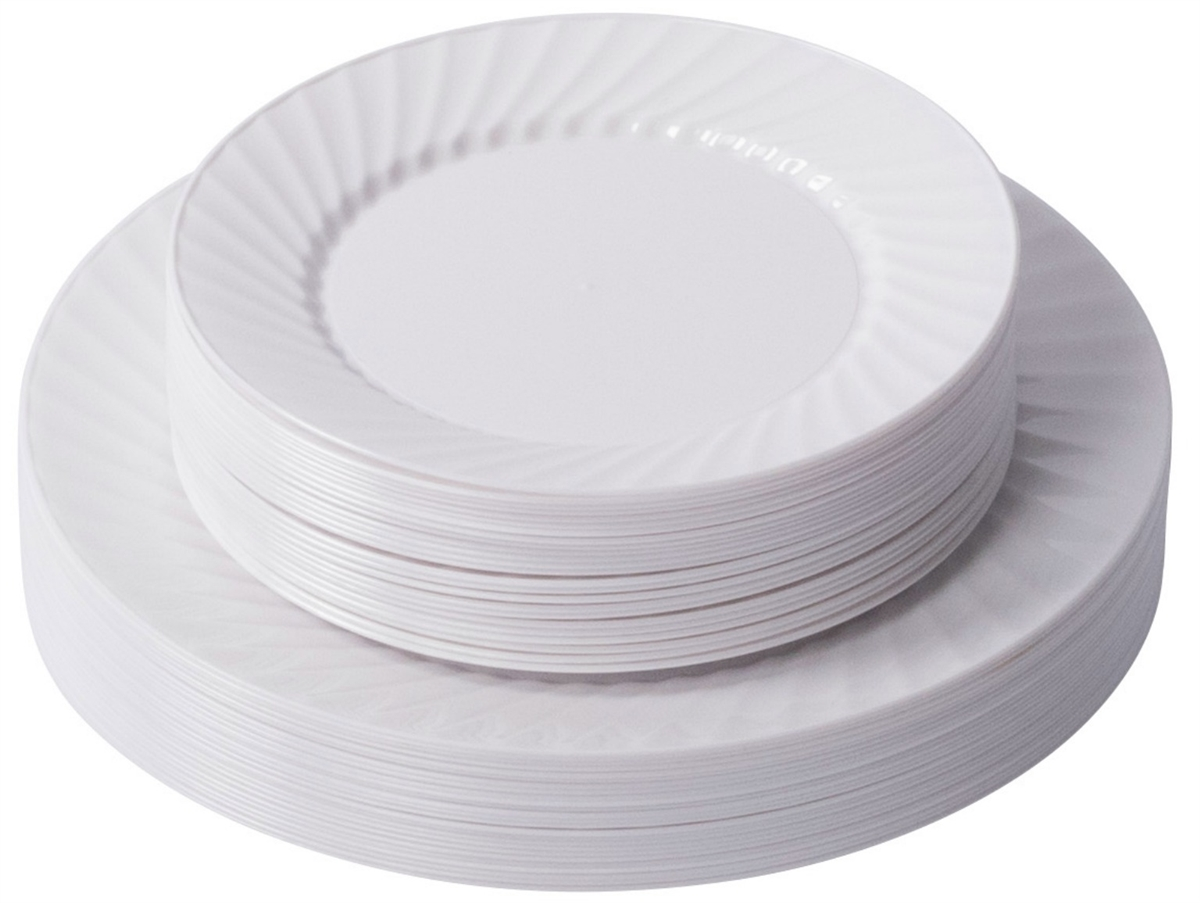 Zappy 10  25 Disposable Plastic White Dinner Plates 25 Salad Plates Swirl Plates  sc 1 st  Zappy & Zappy Disposable Plastic 10