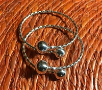 Baby Twisted Wire Bangle 6mm Balls - Sold Separately