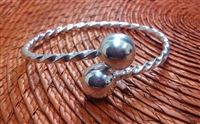 Large Adult Twisted Wire Bangle 14mm Balls - Thick Wire 2.5 mm