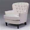 Seriena Marseille Tufted Back Sofa/Accent Chair with Neil Head in White Beige or Green Linen, Solid Beige Accent Chairs