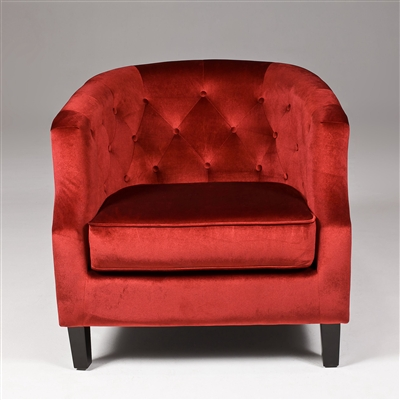 Seriena Vienna Burgundy Red Velvet Sofa Accent Chair with Tufted Back Barrel Curved Back ,tufted Sofa, Burgundy sofa, Burgundy fabric accent chair, designer accent chairs, upholstered accent chair, colorful accent chairs, contemporary accent chair