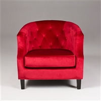 Seriena Vienna Red Velvet Sofa, Red Tufted Accent Chair Sofa, Barrel Curved Back Accent Chair Sofa, Red lounge chairs, Red club chairs, Velvet Lounge Chairs, Velvet Club Chairs, Red Velvet Sofas, red velvet Sofa,