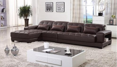 Sectional sofa with chaise leather sectional l shaped for Brown chaise lounge sofa
