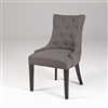 Seriena Gray Linen Dining Chair with Button-Tufting and Barrel Curved Back, Gray Dining Chair, Upholstered Gray Dining Chair, Tufted Gray Dining Chair, Solid Linen Dining Chair, Barrel Curved Back Dining Chair, Buttoned back Dining Chair