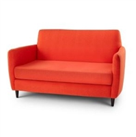 Seriena Barcelona Faux Wool Sofa/LoveSeat in Red-Orange or Purple Fabric, Orange upholstered Chairs, Mid Century Modern Design